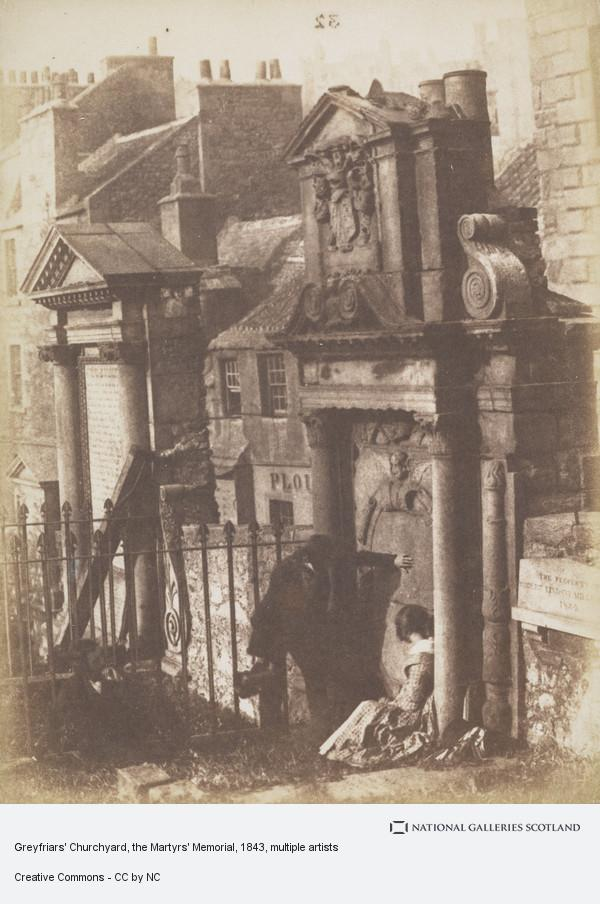 David Octavius Hill, Greyfriars' Churchyard, the Martyrs' Memorial and the McCulloch monument, the figures may be David Octavius Hill and Miss Watson. [Edinburgh 54] (About 1843 - 44)