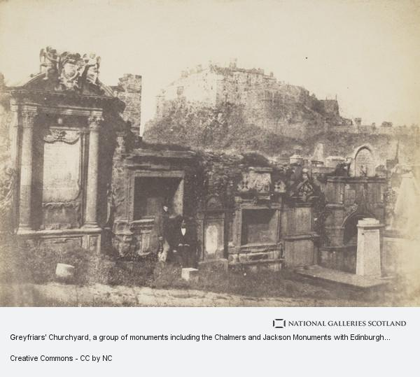 David Octavius Hill, Greyfriars' Churchyard, a group of monuments including the Chalmers and Jackson Monuments with Edinburgh Castle in the background [Edinburgh 63]