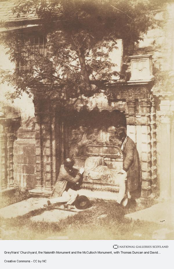 David Octavius Hill, Greyfriars' Churchyard, the Naismith Monument and the McCulloch Monument, with Thomas Duncan and David Octavius Hill [Edinburgh 50]