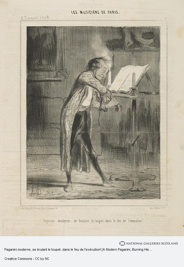 Honoré Daumier, Paganini moderne, se brulant le toupet, dans le feu de l'exécution! [A Modern Paganini, Burning His Hairpiece in the Fire of His Performance!],...