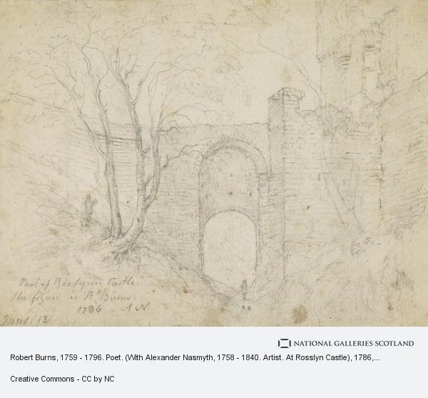 Alexander Nasmyth, Robert Burns, 1759 - 1796. Poet. (With Alexander Nasmyth, 1758 - 1840. Artist. At Rosslyn Castle) (1786)