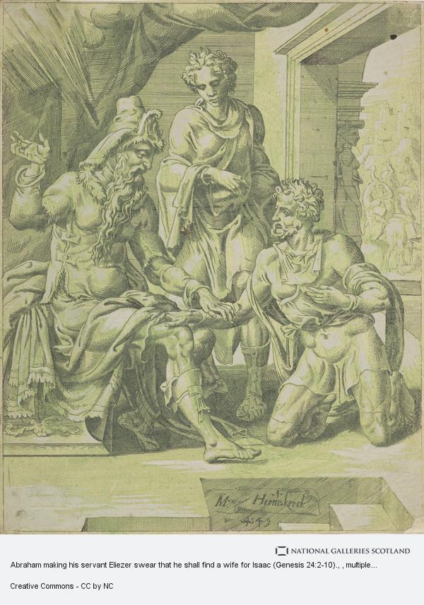 Dirck Volkertsz Coornheert, Abraham making his servant Eliezer swear that he shall find a wife for Isaac (Genesis 24:2-10).