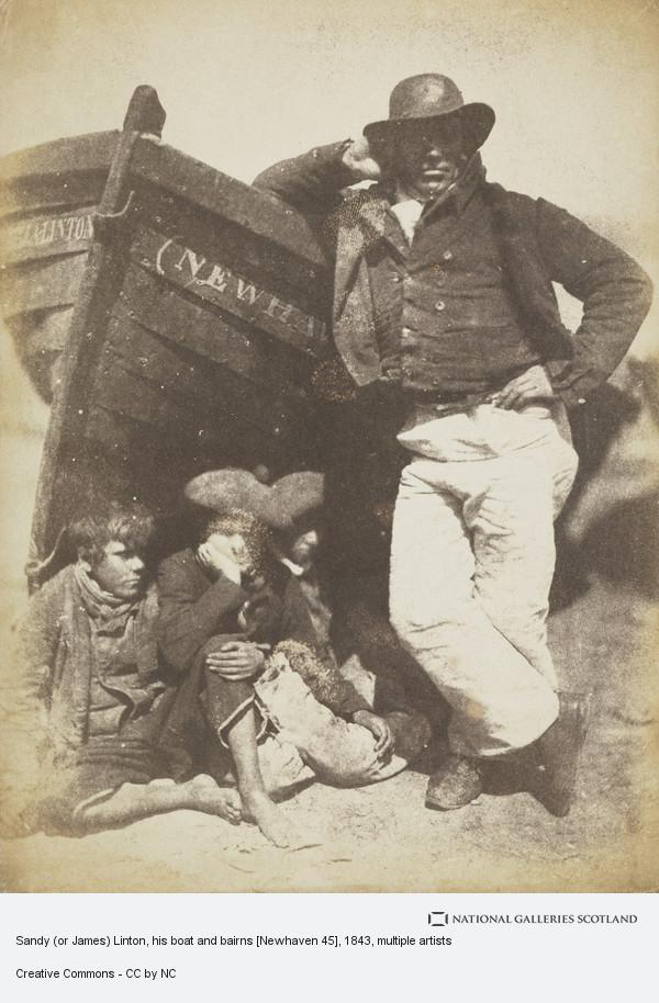 David Octavius Hill, Sandy (or James) Linton, his boat and bairns [Newhaven 45]