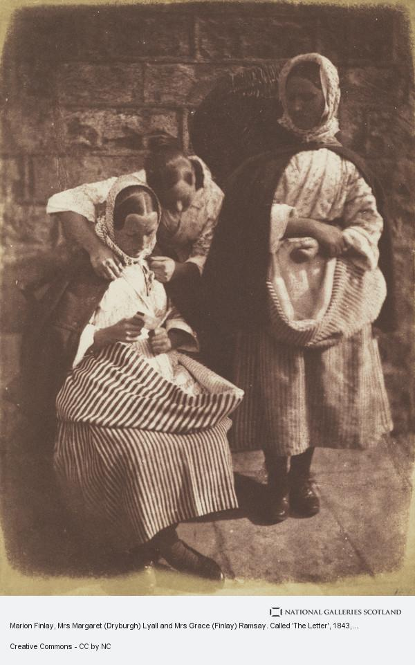 David Octavius Hill, Marion Finlay, Mrs Margaret (Dryburgh) Lyall and Mrs Grace (Finlay) Ramsay. Called 'The Letter' (1843 - 1847)