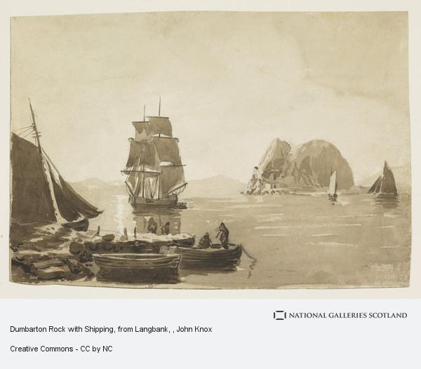 John Knox, Dumbarton Rock with Shipping, from Langbank