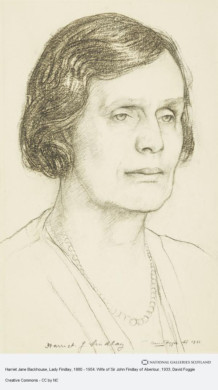 David Foggie, Harriet Jane Backhouse, Lady Findlay, 1880 - 1954. Wife of Sir John Findlay of Aberlour