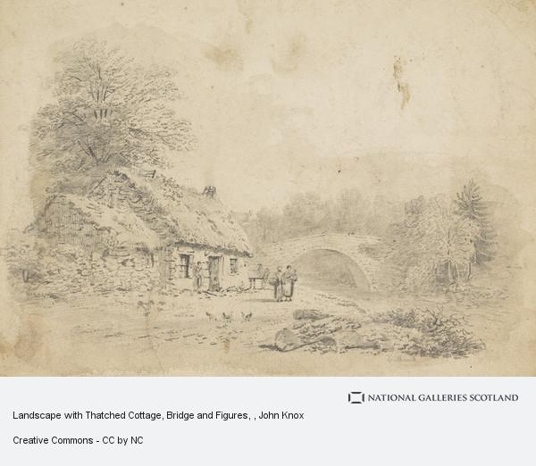 John Knox, Landscape with Thatched Cottage, Bridge and Figures
