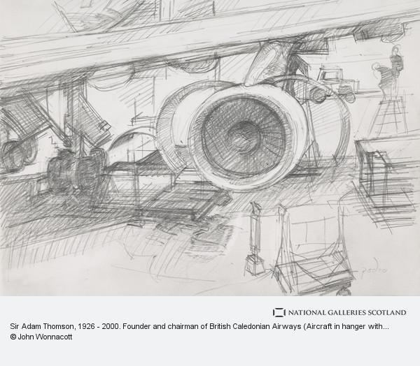 John Wonnacott, Sir Adam Thomson, b. 1926. Founder and chairman of British Caledonian Airways (Aircraft in hanger with details of engine)