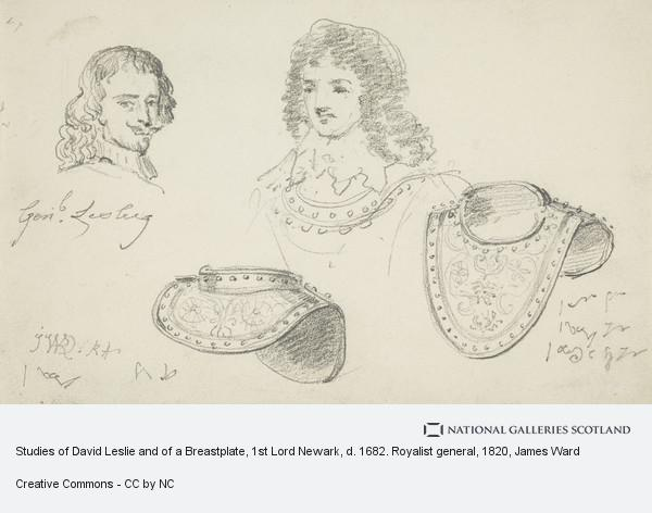 James Ward, Studies of David Leslie and of a Breastplate, 1st Lord Newark, d. 1682. Royalist general