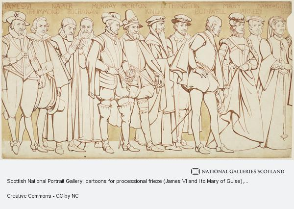 William Brassey Hole, Scottish National Portrait Gallery; cartoons for processional frieze (James VI and I to Mary of Guise)