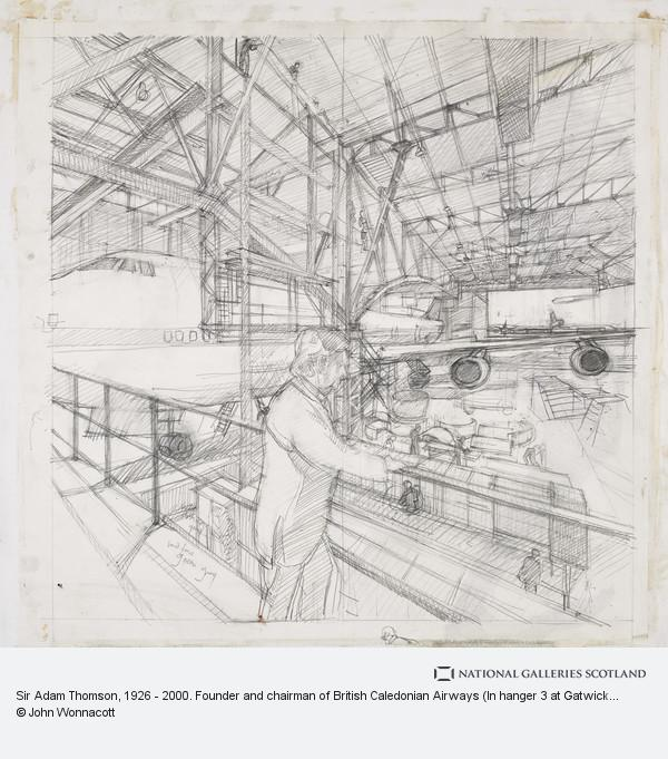 John Wonnacott, Sir Adam Thomson, b. 1926. Founder and chairman of British Caledonian Airways (In hanger 3 at Gatwick airport))
