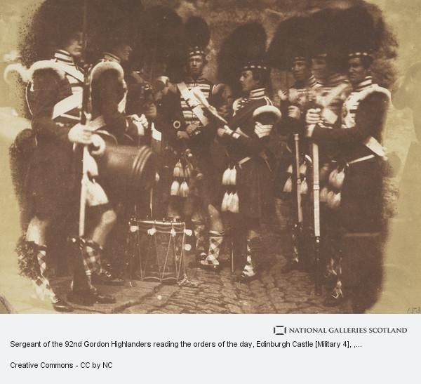 David Octavius Hill, Sergeant of the 92nd Gordon Highlanders reading the orders of the day, Edinburgh Castle [Military 4]