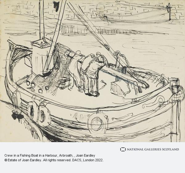 Joan Eardley, Crew in a Fishing Boat in a Harbour, Arbroath