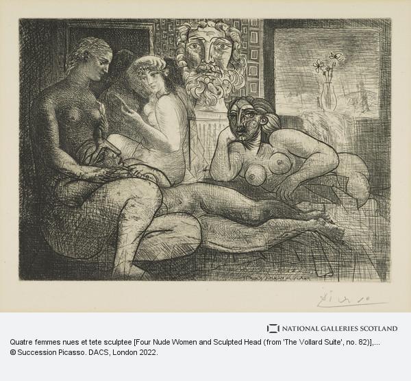 Pablo Picasso, Quatre femmes nues et tete sculptee [Four Nude Women and Sculpted Head (from 'The Vollard Suite', no. 82)]