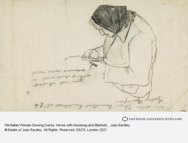 Joan Eardley, Old Italian Woman Sewing [verso: Horse with Nosebag and Blanket]
