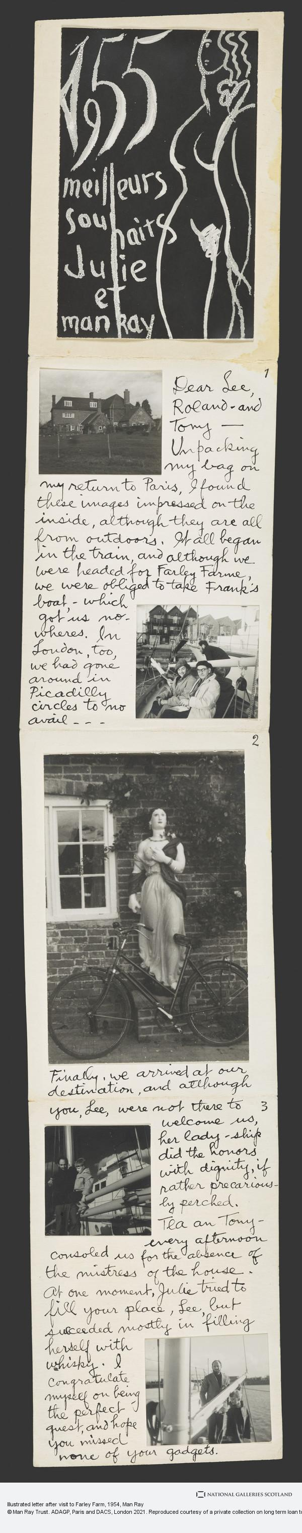 Man Ray, Illustrated letter after visit to Farley Farm