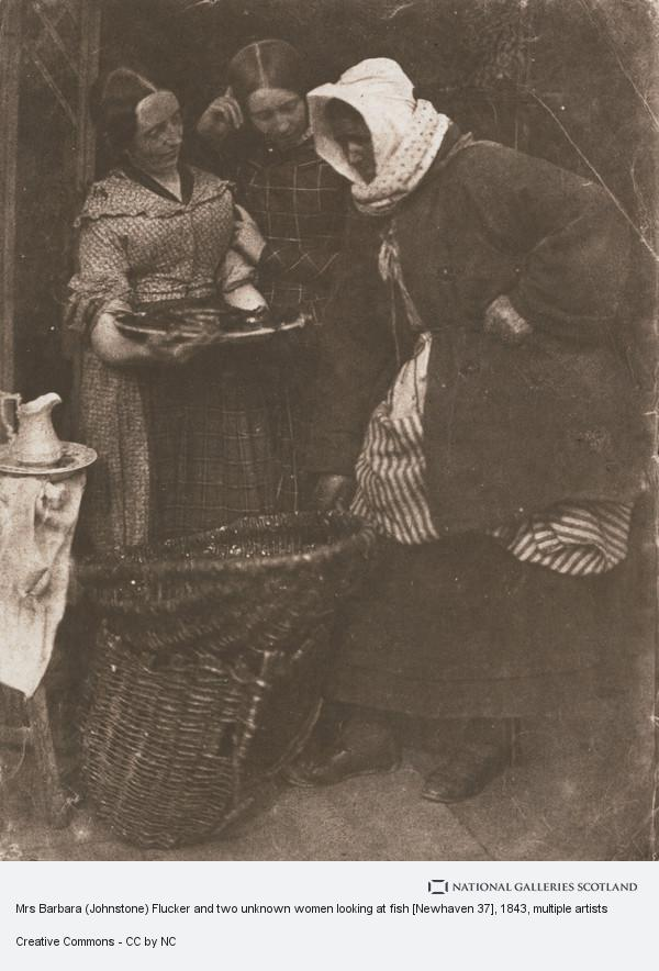 David Octavius Hill, Mrs Barbara (Johnstone) Flucker and two unknown women looking at fish [Newhaven]