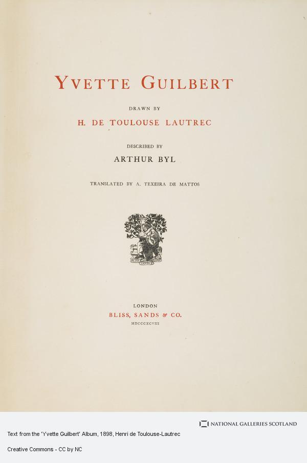 Henri de Toulouse-Lautrec, Text from the 'Yvette Guilbert' Album