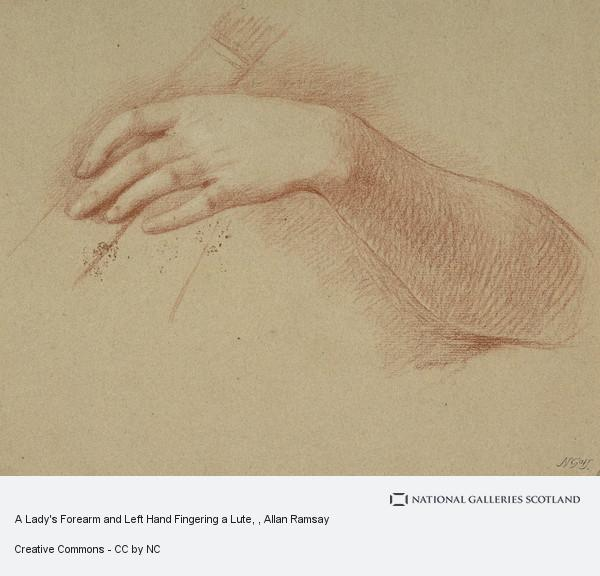 Allan Ramsay, A Lady's Forearm and Left Hand Fingering a Lute
