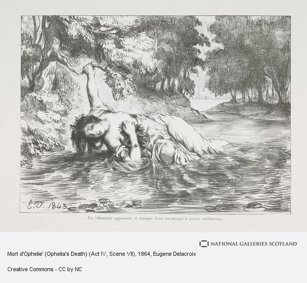 Eugene Delacroix, Mort d'Ophelie' (Ophelia's Death) (Act IV, Scene VII)