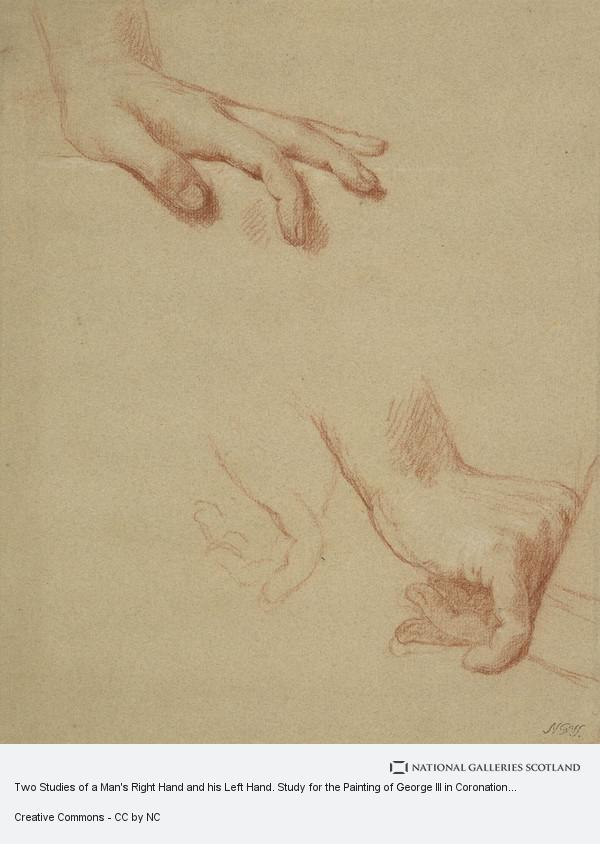 Allan Ramsay, Two Studies of a Man's Right Hand and his Left Hand. Study for the Painting of George III in Coronation Robes