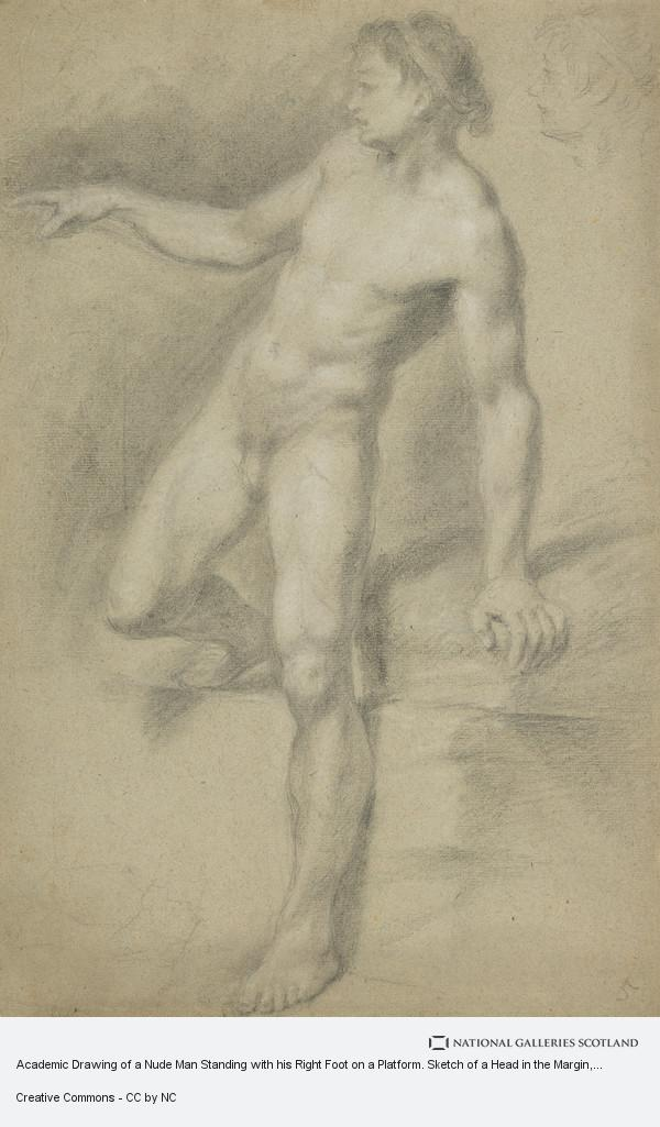 Allan Ramsay, Academic Drawing of a Nude Man Standing with his Right Foot on a Platform. Sketch of a Head in the Margin