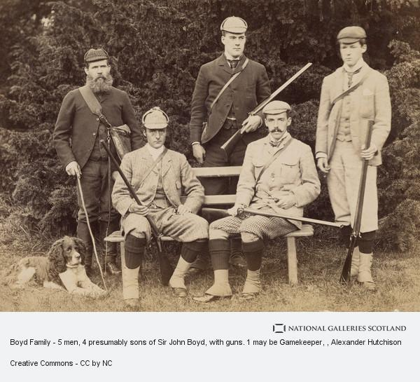 Alexander Hutchison, Boyd Family - 5 men, 4 presumably sons of Sir John Boyd, with guns. 1 may be Gamekeeper