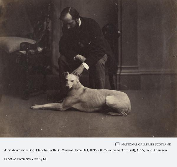 John Adamson, John Adamson's Dog, Blanche (with Dr. Oswald Home Bell, 1835 - 1875, in the background)