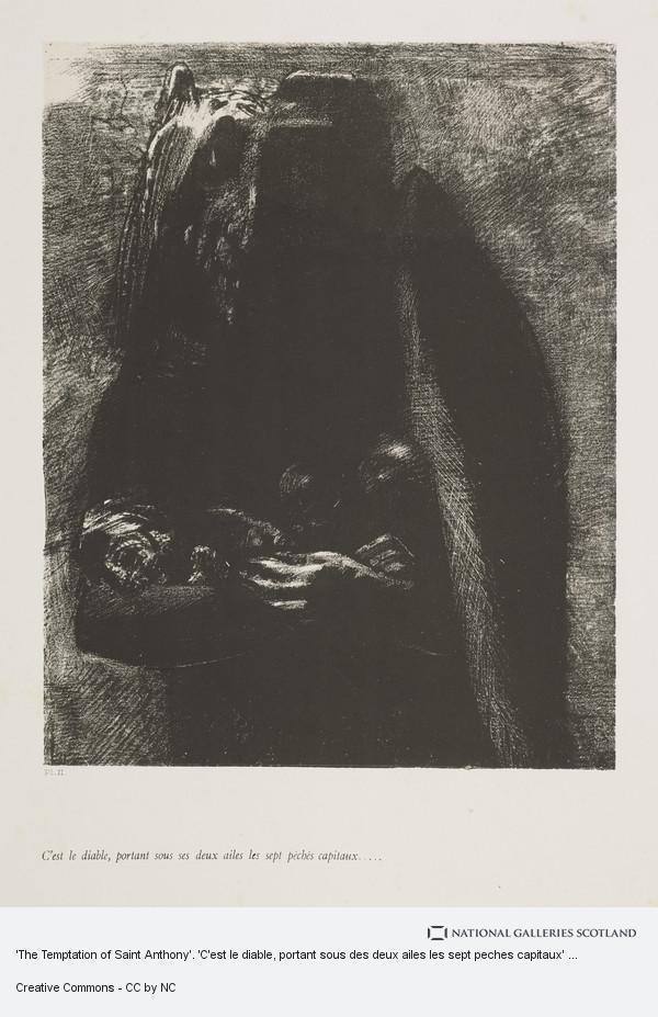 Odilon Redon, 'The Temptation of Saint Anthony'. 'C'est le diable, portant sous des deux ailes les sept peches capitaux' (Plate II)