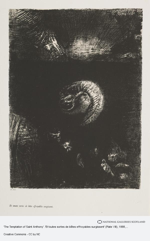 Odilon Redon, 'The Temptation of Saint Anthony'. 'Et toutes sortes de bêtes effroyables surgissent' (Plate VIII)