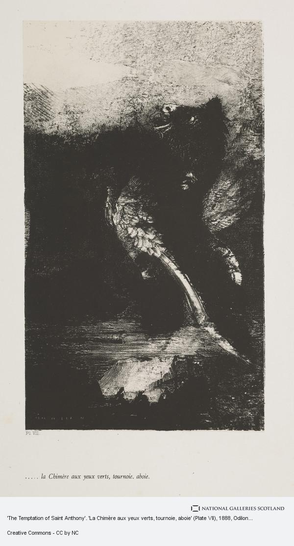 Odilon Redon, 'The Temptation of Saint Anthony'. 'La Chimère aux yeux verts, tournoie, aboie' (Plate VII)