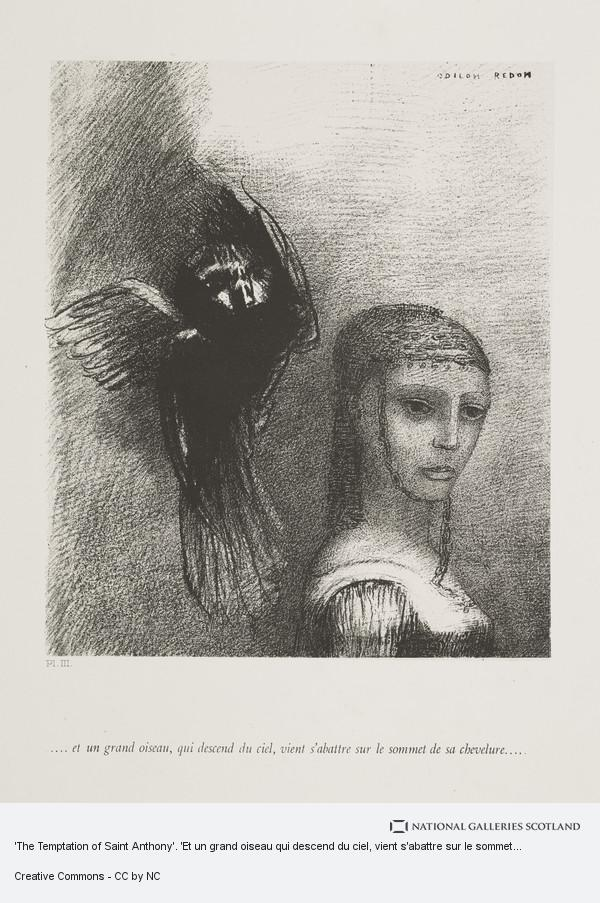 Odilon Redon, 'The Temptation of Saint Anthony'. 'Et un grand oiseau qui descend du ciel, vient s'abattre sur le sommet de chevelure' (Plate III)