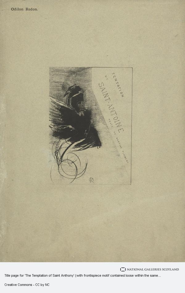 Odilon Redon, Title page for 'The Temptation of Saint Anthony' (with frontispiece motif contained loose within the same mount)
