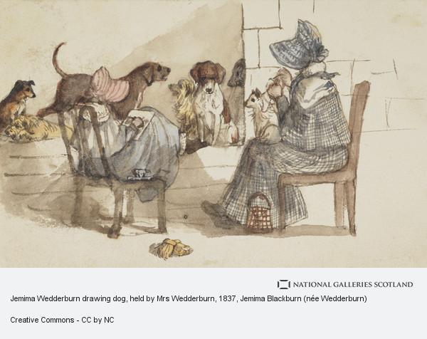 Jemima Blackburn (née Wedderburn), Jemima Wedderburn drawing dog, held by Mrs Wedderburn