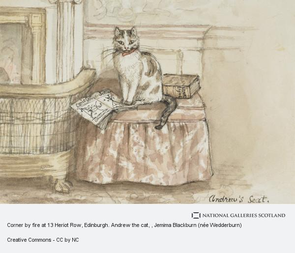 Jemima Blackburn (née Wedderburn), Corner by fire at 13 Heriot Row, Edinburgh. Andrew the cat