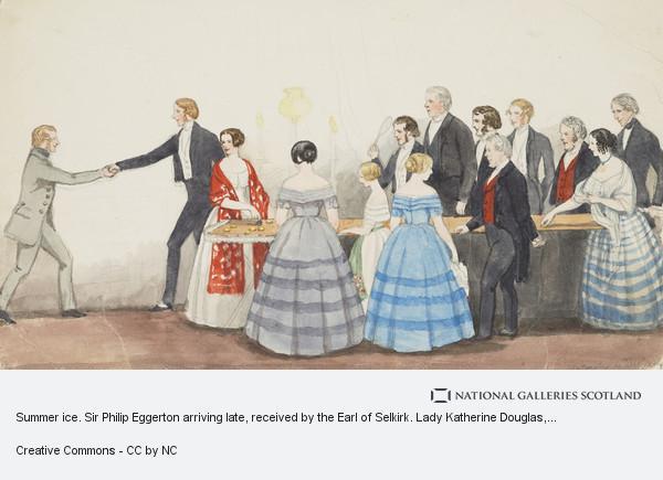 Jemima Blackburn (née Wedderburn), Summer ice. Sir Philip Eggerton arriving late, received by the Earl of Selkirk. Lady Katherine Douglas, Isabella Blackburn, Jemima Wedderburn,...