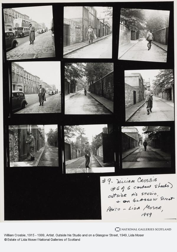 Lida Moser, William Crosbie, 1915 - 1999, Artist. Outside his Studio and on a Glasgow Street