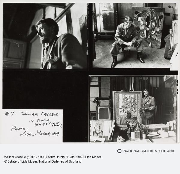Lida Moser, William Crosbie (1915 - 1999) Artist, in his Studio