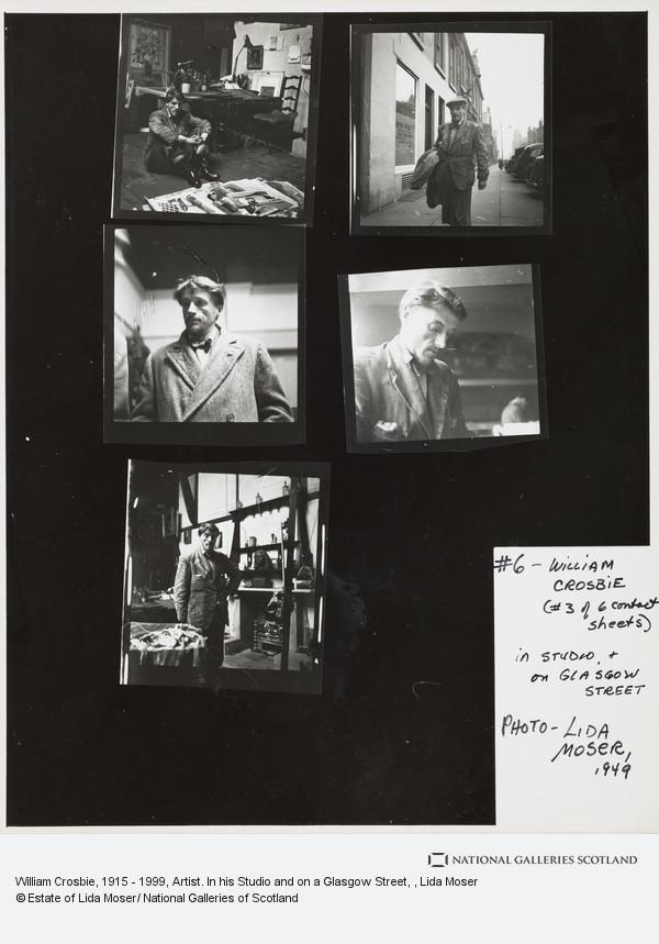 Lida Moser, William Crosbie, 1915 - 1999, Artist. In his Studio and on a Glasgow Street