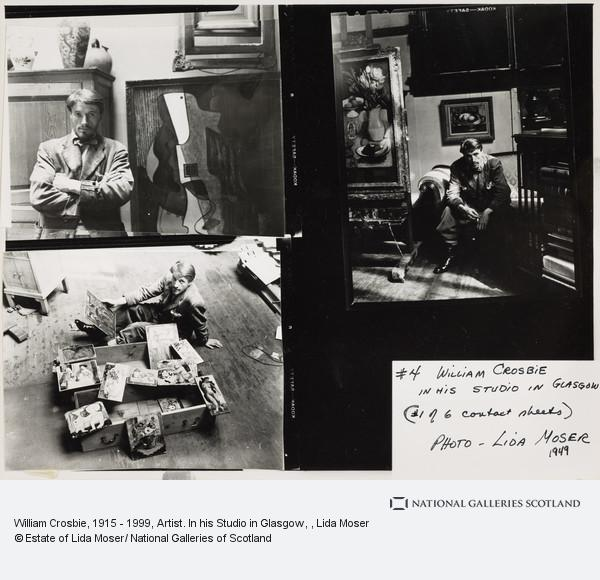 Lida Moser, William Crosbie, 1915 - 1999, Artist. In his Studio in Glasgow