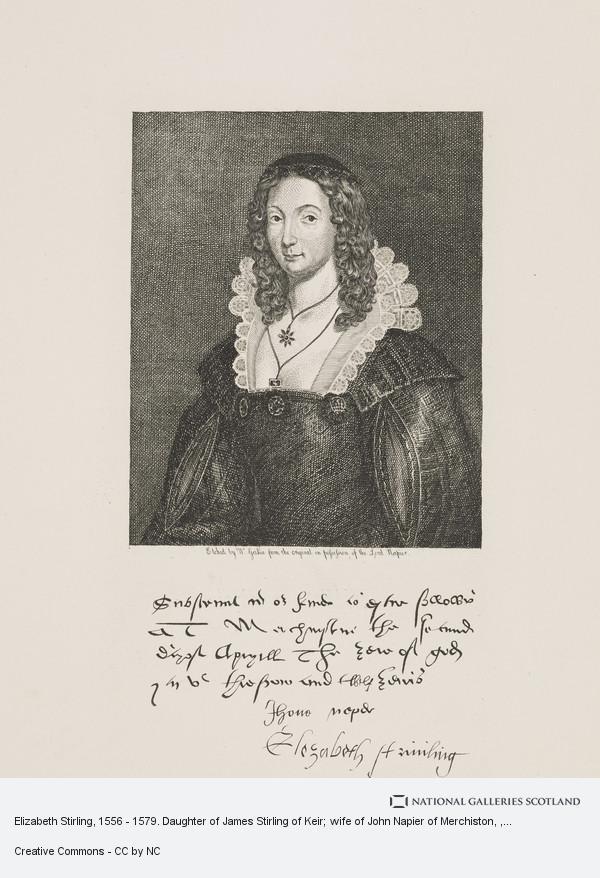 Walter Geikie, Elizabeth Stirling, 1556 - 1579. Daughter of James Stirling of Keir; wife of John Napier of Merchiston