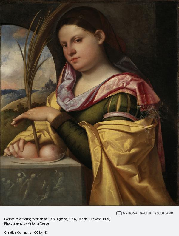 Cariani (Giovanni Busi), Portrait of a Young Woman as Saint Agatha