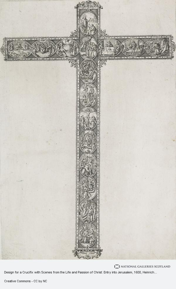Heinrich Ulrich, Design for a Crucifix with Scenes from the Life and Passion of Christ: Entry into Jerusalem