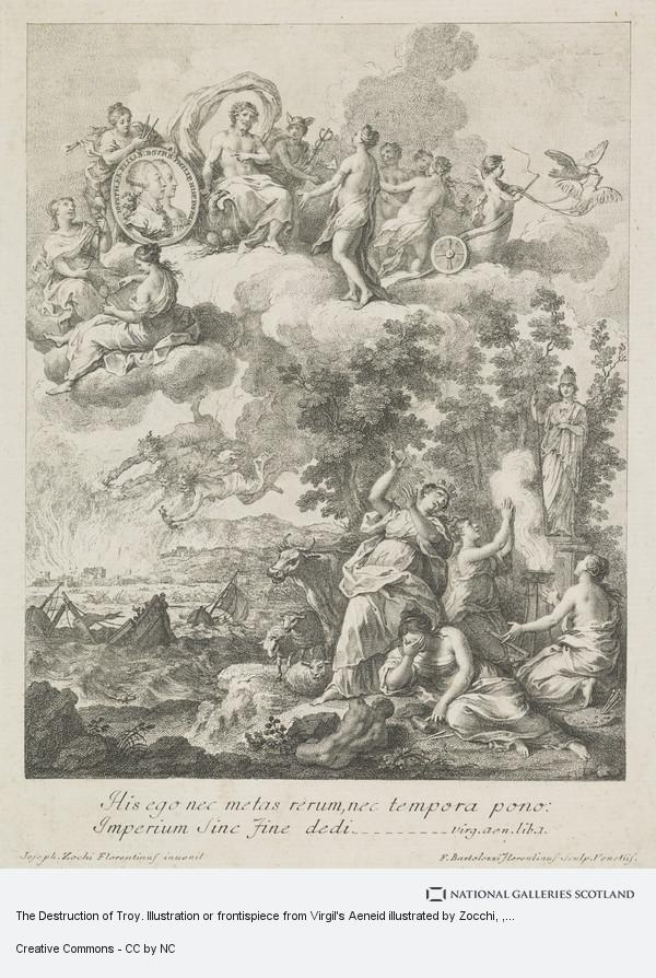 Francesco Bartolozzi, The Destruction of Troy. Illustration or frontispiece from Virgil's Aeneid illustrated by Zocchi