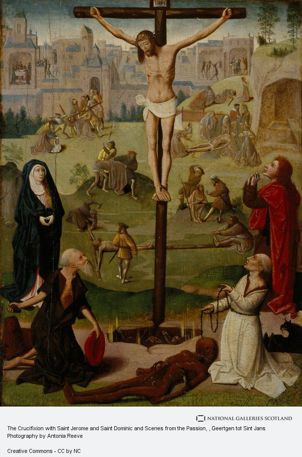 Geertgen tot Sint Jans, The Crucifixion with St Jerome and St Dominic and Scenes from the Passion (late 15th or early 16th century)