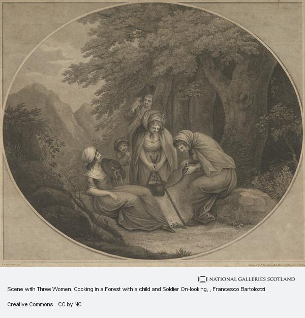 Francesco Bartolozzi, Scene with Three Women, Cooking in a Forest with a child and Soldier On-looking