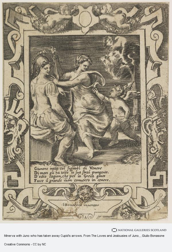 Giulio Bonasone, Minerva with Juno who has taken away Cupid's arrows. From The Loves and Jealousies of Juno