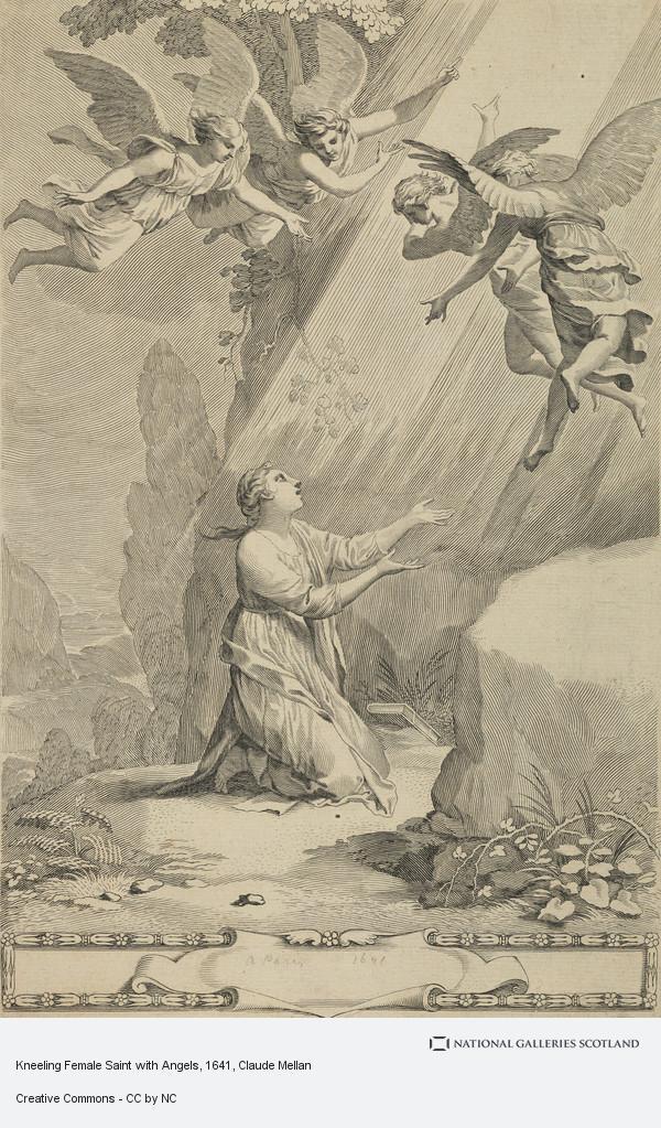 Claude Mellan, Kneeling Female Saint with Angels