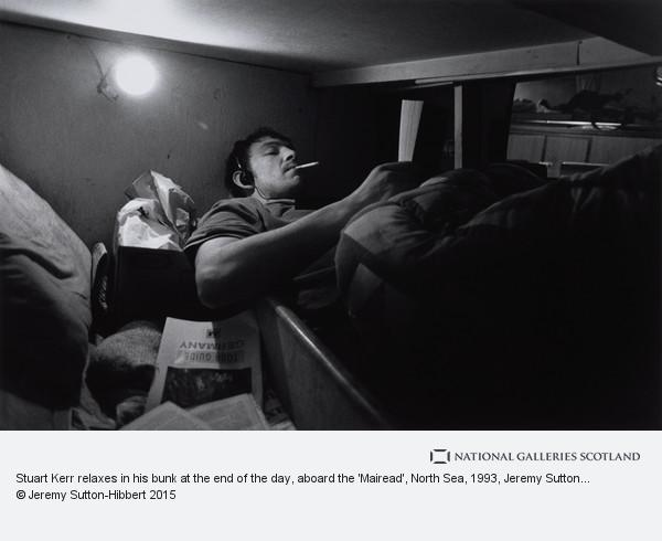 Jeremy Sutton-Hibbert, Stuart Kerr relaxes in his bunk at the end of the day, aboard the 'Mairead', North Sea