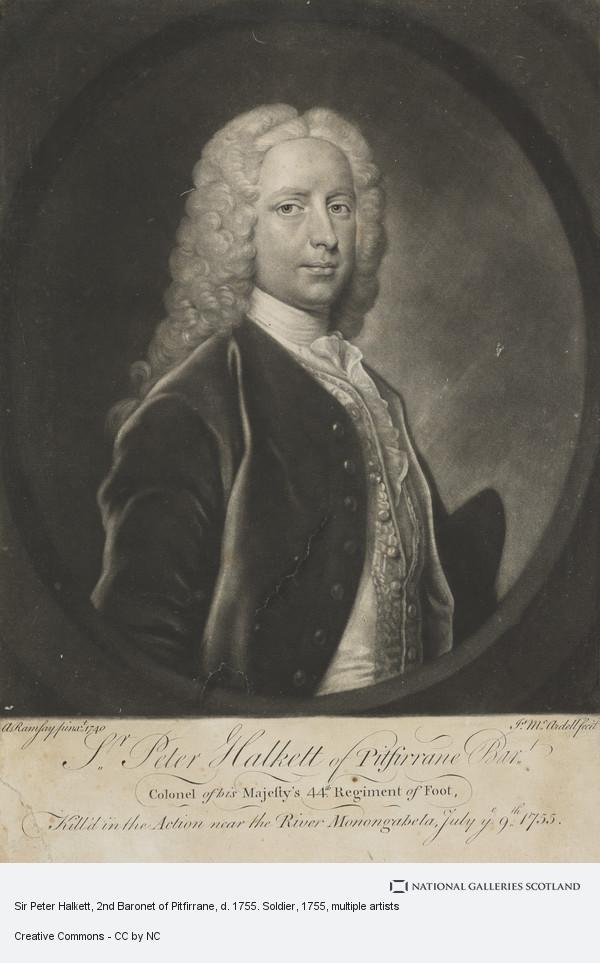 James McArdell, Sir Peter Halkett, 2nd Baronet of Pitfirrane, d. 1755. Soldier